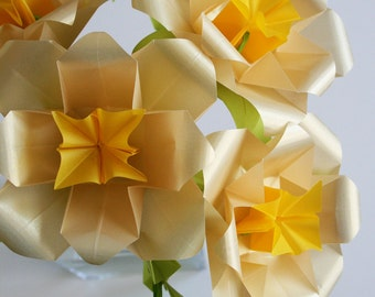 Golden Roses - Origami Paper Flowers - Bouquet folded with translucent gold origami paper, art sculpture, gifts for mother