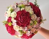 Wedding bouquet fuchsia peony pink hydrangea spray roses  Deco Clay Made by order