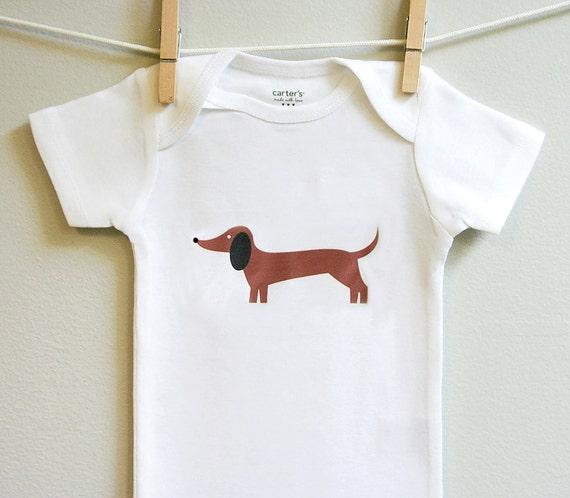 Dachshund baby clothes, dachshund baby, dachshund baby bodysuit sizes 3 - 18 months