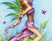 Fairy Fly Free, 8x11 Art Print by Courtney Fisher, Summer Fairy, Purple Fae, Green Wings