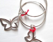 STERLING silver butterfly earrings- FREE SHIPPING-jewelry for woman- sexy red jewelry- fly high fashion- season 2013- JA00102