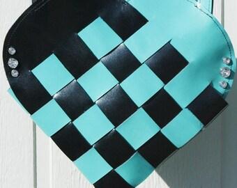 Blue & Black Woven Leather Heart Purse