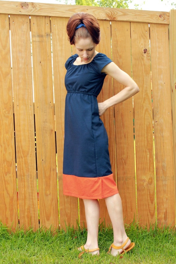 Navy Blue Dress Orange Business Casual Short By SweetHomeBoutique