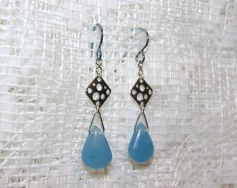 "Aqua Blue Jade Sterling Silver Dangle Earrings with Hypoallergenic Niobium French Hooks--""Ocean Breeze"""
