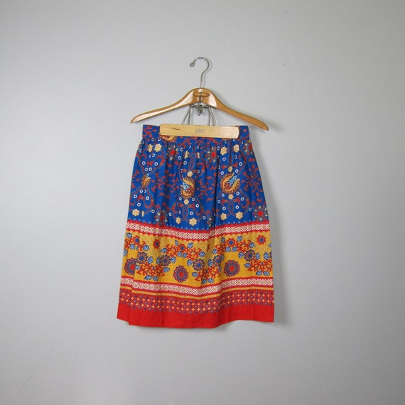 Vintage 1970s All Cotton Gold Red and Blue Folk Skirt (Small)