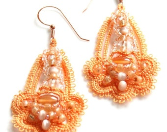 Apricot Tatting Lace Beaded Chandelier Dangle Earrings