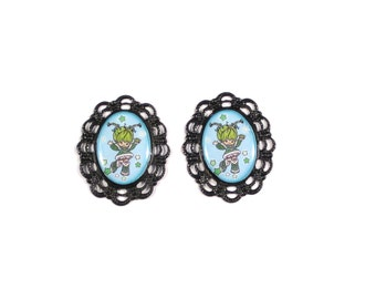 Rainbow Brite and the Color Kids Patty O'Green Cameo Post Earrings