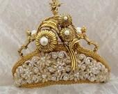 Bridal Crown, Renaissance Headpiece, Royal Gold Wedding Crown, Gold Tiara, Bridal Crown, Angels, Victorian Steampunk Accessory