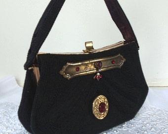 Black silk Purse, Elegant Clutch with Locket evening bag, formal steampunk purse, Black, Red, Brass.