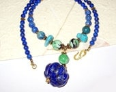 Lapis, Chrysoprase, Turquoise, Chrysocolla In 14K Gold Filled Sterling Silver Necklace