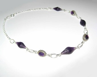 Unique Amethyst In Sterling Silver Necklace