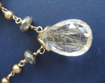 Stunning Golden Rutilated Quartz & Golden Phyrite In Vermeil Necklace
