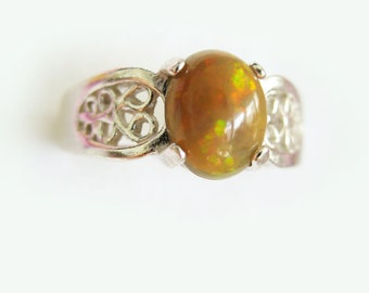 Natural Chocolate Multicor Opal In Sterling Silver Filigree Ring. Size 6.5