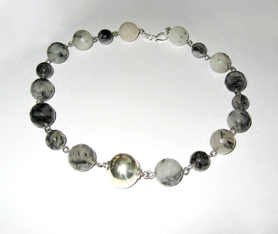 Grey Tourmalinated Quartz In Sterling Silver Necklace
