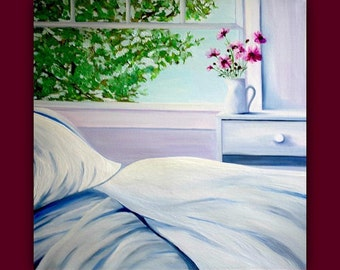 "Serenity"" - Huge Original Oil Painting (bed, sheets, blanket, pillow, window, flowers, vase, pitcher, tree) signed by DanaC"