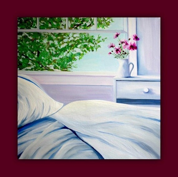 """Serenity"""" - Huge Original Oil Painting (bed, sheets, blanket, pillow, window, flowers, vase, pitcher, tree) signed by DanaC"""
