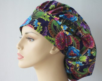 Bouffant Surgical Scrub Hat - Medallion and Flowers