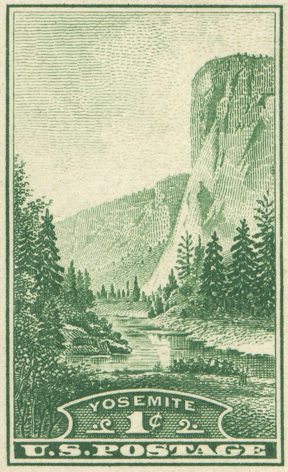 Yosemite - El Capitan - 36x23 Stretched Canvas Print of Postage Stamp from 1935