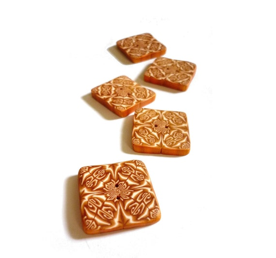 polymer clay Square buttons 1 inch, caramel, gold, handmade buttons 27mm, set of 5, Geometric caramel kaleidoscope - bag sewing accessories,