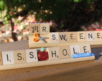 Custom Scrabble Desk Teacher Nameplate