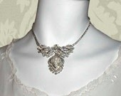 RESERVED for Rosalind: Rhinestone Pendant Choker Crystal Clear Pre 60s
