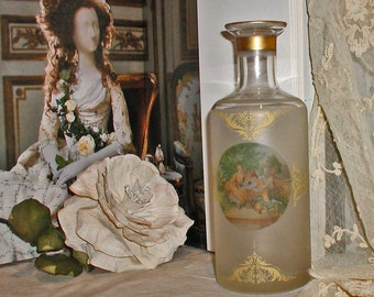 Vintage Vase or Carafe In Frosted Glass With 18th Century Picture and Gold Filigree Decoration