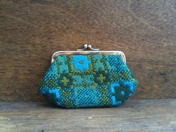 Vintage Welsh Teal Tapestry Coin Purse circa 1970's / English Shop