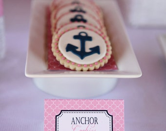 INSTANT DOWNLOAD Preppy Nautical Menu Tents (Pink and Navy Menu Cards, Nautical Food Labels, Pink and Navy Placecards)