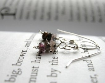 SALE Earthy Pink Tourmaline Trio Dainty Everyday Earrings - Sterling Silver / Delicate October Birthstone Valentines Day Jewelry for Her