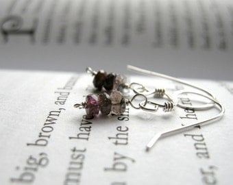 SALE Tiny Rustic Pink Tourmaline Earrings - Sterling Silver / Delicate Dainty Minimalist Jewelry, Unique Rustic October Birthstone