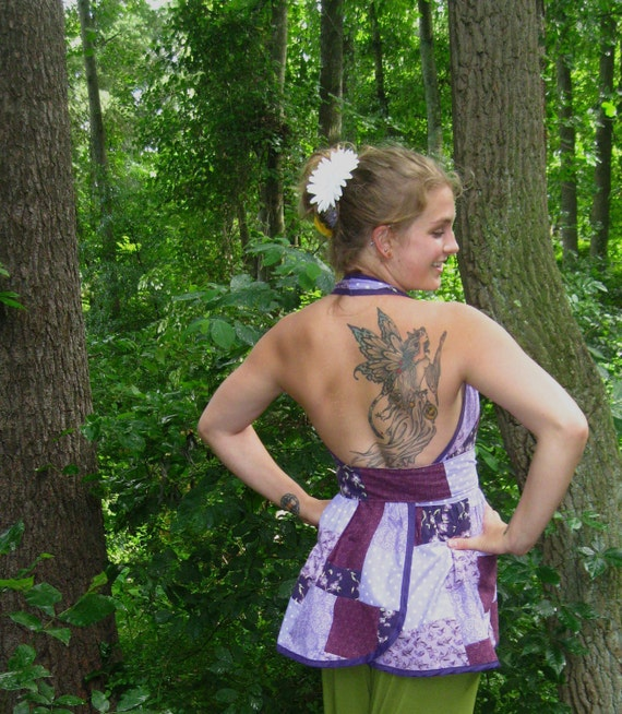 """SALE handmade wrap top/tunic """"Purple"""" patchwork halter one-of-a-kind"""