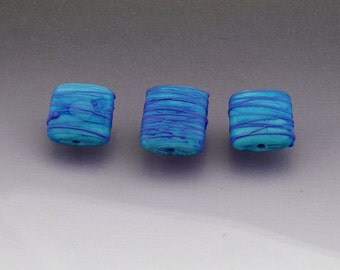 Lampwork bead set, matte glass beads, square bead pillow rectangle bead blue Made to ORDER  Anne Londez SRA OOAK