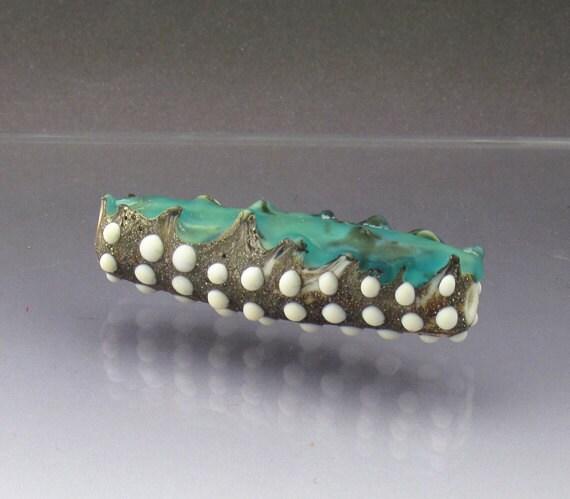 Lampwork glass bead aqua focal bead, long bead Aqua Ripped Seam Anne Londez OOAK SRA