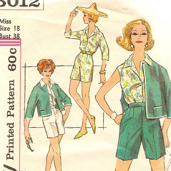 "1960s Blouse Jacket Shorts Pattern Bust 38"" Size 18 Vintage Sewing Pattern Simplicity 3012"