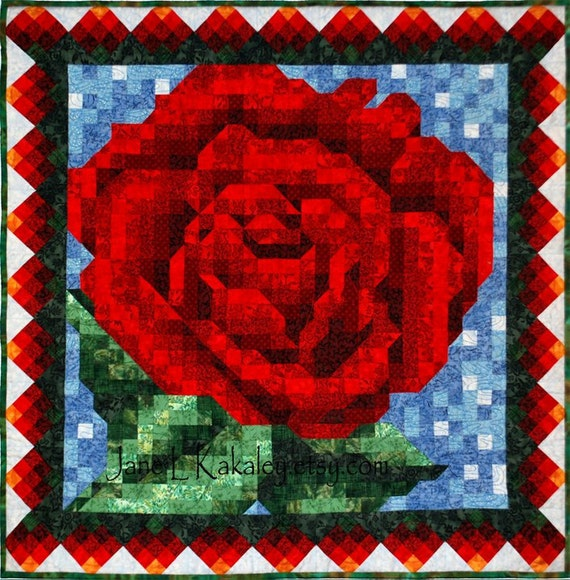 Quilt pattern red rose mosaic quilt pattern immediate for Red door design quilts
