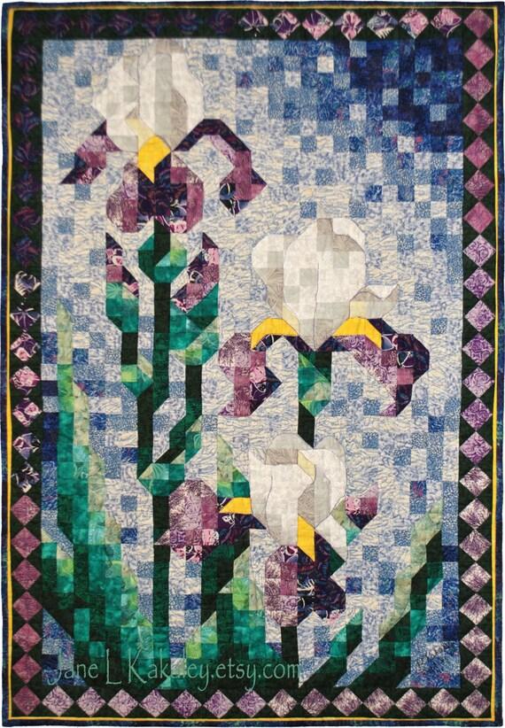 Quilt Pattern - PDF - Art Quilt - Iris Mosaic Quilt Art Pattern - Immediate Download