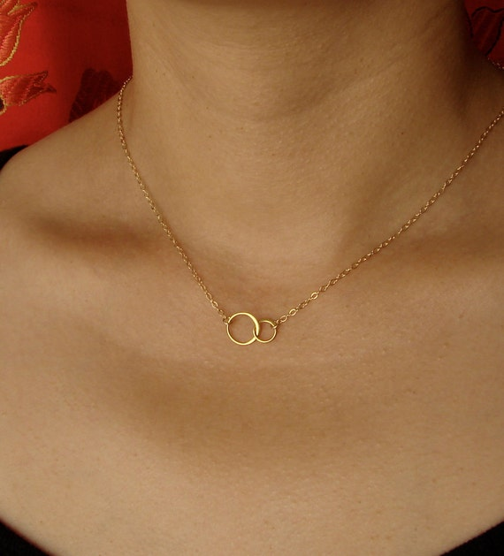 Tiny Forever Linked Together Circles Necklace in Vermeil and Gold Filled