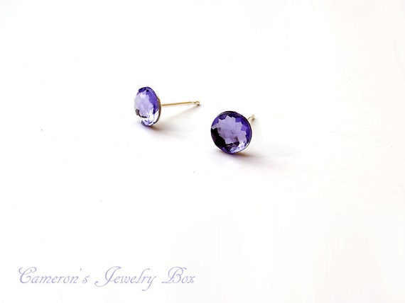 Purple Crystal Stud Earrings, Amethyst Earrings, Purple Studs, Purple Post Earrings, Bridesmaid Jewelry Earrings