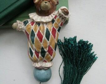 Clown Bear Ornament Pull with tassel