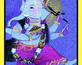 Archival art print Ganesh Lucky elephant. Charm mystical indian elepant. yoga meditation sacred space purples magenta home altar supplies