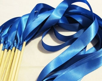 50 Magical Wedding Ribbon Wands IN YOUR COLORS (shown in royal blue) Add color to your wedding ceremony exit