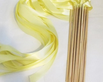 Satin Wedding Ribbon Wands - Custom Colors - Pack of 50 - Shown in Baby Maize Yellow - Summer and Spring