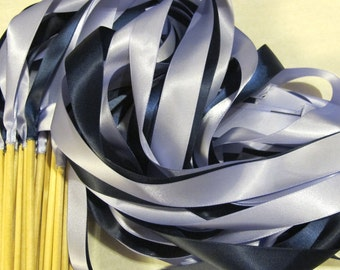 Satin Wedding Ribbon Wands - Custom Colors - Pack of 50 - Shown in Iris and Navy Blue