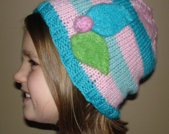 Hand Knitted Pink and Blue Child's Stocking Cap. Striped kid's Beanie. Warm winter hat.