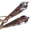 Copper crystal earrings, cone, filigree, oxidized, burgundy, teardrop, dangle, long, swarovki, Outlet, clearance