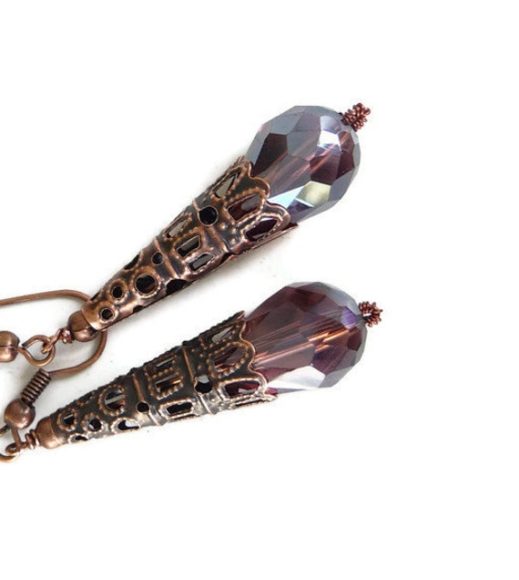 Copper crystal earrings, cone, filigree, oxidized, burgundy, teardrop, dangle, long, swarovki, Outlet, clearance