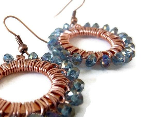 Copper gray-blue earrings