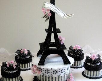 Eiffel Tower Cake Topper, Keepsake Box