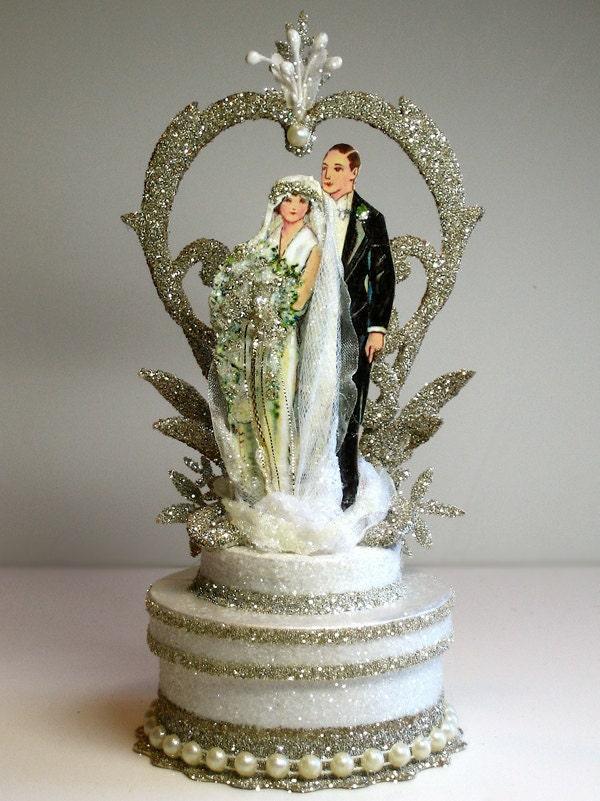 1920s garden deco wedding cake topper for Garden design 1920 s
