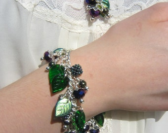 Hedgerow bracelet, blackberries, purple, green, woodland